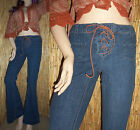 VTG 90s M Denim Lace-up Hippie Peace Stretch Flare Bell Bottom Jeans Boho 32X33