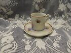 Hand Painted Porcelain~DEMITASSE CUP SAUCER ~ Grapes Butterflys