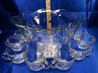 Anchor Hocking Glass Savannah Floral Embossed Punch Bowl Set Serving for 8 Cups