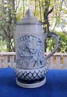 ANTIQUE WHITE'S UTICA STONEWARE BLUE COBALT DECORATED LARGE STEIN TANKARD--11