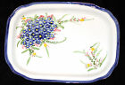 Ceramic Hand Painted Forget Me Nots Floral Serving Tray Platter Pottery ~ NEW