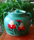 Vtg Pottery Painted Cookie Jar Ransburg? stoneware flowers floral green antique