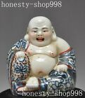 old Chinese buddhism wucai Porcelain wealth happy laugh Maitreya Buddha statue