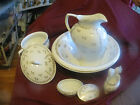 Antique 8 PC Gold Floral Elegant Pitcher and Wash Basin w/ Chamber Set