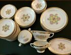 Rare Set 51 Vintage 40s UNION Made 22k Gold Band SOUTHERN ROSE Pattern Plates
