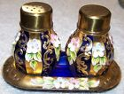 Pepper Set w/ Tray - Moser? - A Lot Of Gold - Applied Flowers