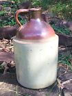 Vintage Brown/Cream Ceramic Moonshine Whiskey Finger Jug! Nice-Ask for Shipping!