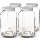 WIDE MOUTH CLEAR ONE GALLON GLASS JUG 4 CASE with CapsLids