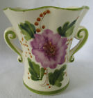 Vintage Planter with handles and floral pattern, Hand Painted in Portugal