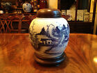 A Large Qing Dynasty Blue and White Porcelain Ginger Jar with Cover and Base.