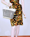 VINTAGE 1950s VINYL COATED WICKER PURSE BAG TOTE BOMBSHELL ROCKABILLY HONG KONG