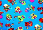 COLORFUL FIESTA OWLS ON BLUE BACKGROUND FLEECE MATERIAL BLANKET 2 YDS 60X72