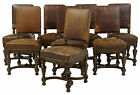 FINE SET OF 8 19TH CENTURY CARVED OAK AND LEATHER DINING CHAIRS