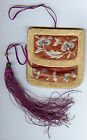 ANTIQUE 1920'S JAPANESE EMBROIDERED SILK FLORAL DESIGNS TASSLES PURSE