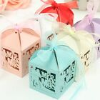 Mr Mrs Love Heart Laser Cut Wedding Party Favor Ribbon Candy Boxes Gift Box