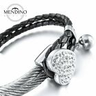 MENDINO Mens Womens Stainless Steel Leather Bracelet Heart Charm Braided Cuff