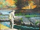 Fishing The Hoosic River Oil on Canvas 16