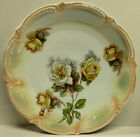 Konigszelt Silesia Lustre Ware Yellow Roses Porcelain Charger Plate Platter