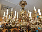 19th Century French Bronze Chandelier five-arm twenty-light urn-style leaf/grape