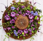Spring Summer Wreath Country Cottage WILLOW FLORAL PANSY HAT DOOR WREATH DECOR