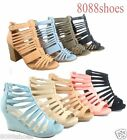 Womens Fashion Cute Strappy Zipper Wedge High Heel Sandal Shoes Size 5 10 NEW