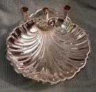SILVER PLATE FOOTED CLAM SHELL SERVER WITH CANDLE HOLDERS