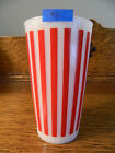 Vintage *NICE* HAZEL ATLAS Candy Stripe Milk Glass RED #9 Tumbler Drinking Retro