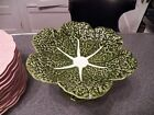 OLFAIRE GREEN CABBAGE LEAF TALL COMPOTE DISH PORTUGAL CERAMIC POTTERY MAJOLICA