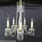 Antique 1910 Czech Crystal Beaded Chandelier Iron Green Amethyst Prisms