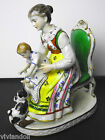DRESDEN/BLUE CROWN MARK...MOTHER IN CHAIR-CHILD AND CAT...PERFECT CONDITION