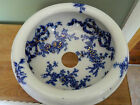 Vintage Flow Blue Slop Jar Lid Chamber Pot Silencer Gold Trim Ribbons Flowers