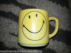 Vintage YELLOW SMILEY FACE Coffee MUG Glass FEDERAL Have A Happy Day COLLECTIBLE