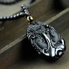 100% natural Obsidian Hand carved Chinese dragon with fish good luck pendant