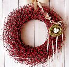 LARGE Spring Summer Primitive Country RED BERRY BIRDS NEST DOOR WREATH DECOR
