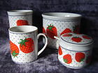 Four piece set STRAWBERRY by Takahashi San Francisco Made in Japan Sugar dish +