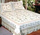 Quilt Set Queen Size Monica 3 Piece Spring Floral Cotton Tan Rose Yellow Green