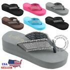 NEW Womens Fashion Wedge Platform Thong Slip On Flip Flops Sandals EVA 25 inch