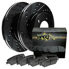 Rear Black Hart Drilled Slotted Brake Rotors Disc and Ceramic Pads CorollaPrizm