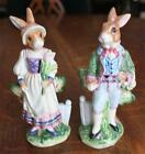 RARE FITZ & FLOYD OLD WORLD BUNNY RABBITS SALT & PEPPER SHAKERS FIGURINES 6 ¼""