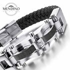 MENDINO Mens Stainless Steel Leather Bracelet Braided Carbon Fiber Cuff Silver
