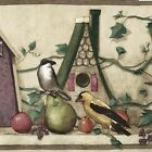 Birds, Apple, Ivy, Birdhouse Shelf - 60 feet FREE USA SHIP Wallpaper Border B040