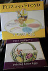 WHIMSICAL  FITZ FLOYD EASTER EGG TRAY W. SALT&PEPPER, AND PAINTING EGGS BASKETT