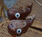 Vintage Whale Salt and Pepper Shakers, Brown Drip Glaze, Redware, Cute!