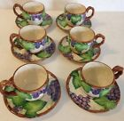 Set Of 6 Fitz And Floyd Hand Painted Ceramic Grape Arbor Cups/Mugs Saucers Japan