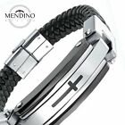 MENDINO Mens Stainless Steel Leather Braided Bracelet Cross Cuff Bangle Silver