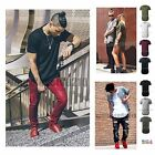 Mens Basic Extended Long T Shirt Elongated Tee Fashion Casual Crew Neck S 2XL