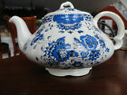 2 PC ELLGREAVE TEAPOT WITH LID BLUE WHITE FLORAL GOLD TRIM IRONSTONE #1230-7