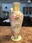 Nippon (Old Noritake) Antique Vase Yellow Gold Pink Flowers Hand Painted China