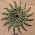 Vintage Metal John Deere Green Rotary Hoe Wheel Farm Barn Steampunk Yard Art