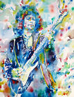 BOB DYLAN playing GUITAR .3-ORIGINAL watercolor PAINTING PORTRAIT! live concert